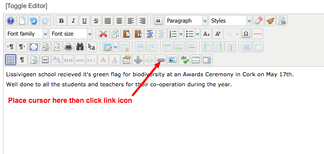 1. Click the Link Icon in the Editor