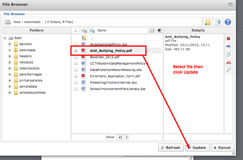3. If the file is already uploaded simply select it and click update - if not move to the next step!
