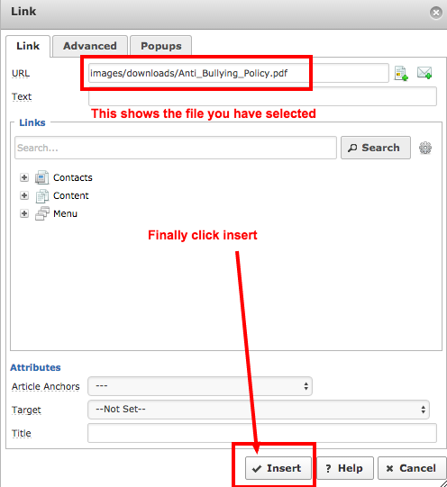 5. You can drag the file up or search for it when done click Insert