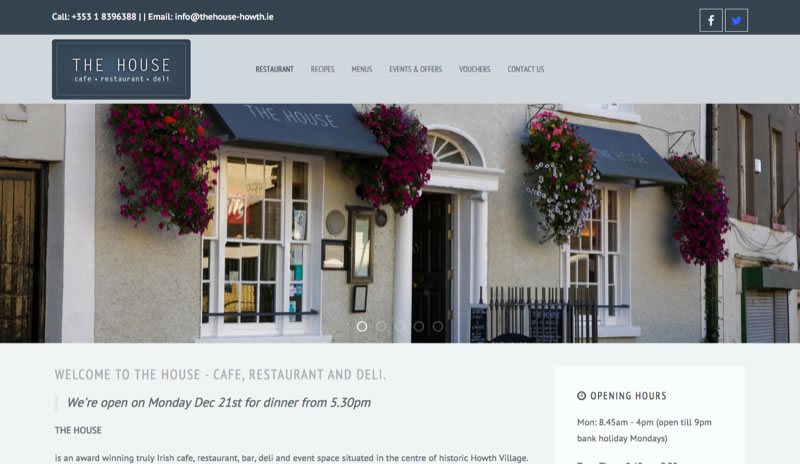 The House - Website design for Irish Restaurant